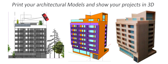 3D printing of your architectural projects - Model in 3D for architecture - Your architectural model in 3D full color - From your 2D plans to 3D models